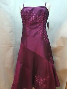 Ladies Teatro Purple Hand Embellished Occasion Dress UK Size 16 - With Tags