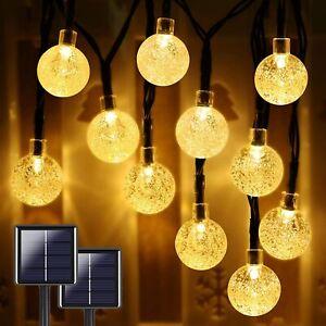 2-Pack 50 LED 7M Crystal Globe Solar String Lights Outdoor IP65 Waterproof Patio