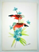 Feather Art Birds Unique Colorful Signed Handmade Vtg Picture