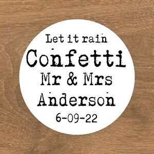 Round Let it rain wedding stickers for confetti cones/pouches