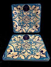 New listing Set of 3 Cynthia Rowley Blue & White Melamine Square Dinner Plates
