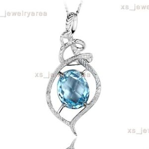 Solid 10K White Gold Natural Blue Topaz & H/SI Diamond Fine Pendant Wedding