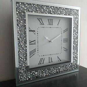 Crushed Jewel Roman Number Diamante Mirror Glass Wall Clock Jewel Bling clock