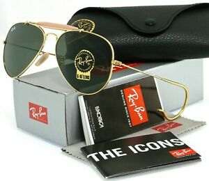 Ray Ban Outdoorsman RB3030 L0216 Gold/Green Classic 58mm Sunglasses