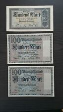 Lot Bayerische Banknoten Bayerische Notenbank 2x 100 Mark & 1x 1000 Mark 1922