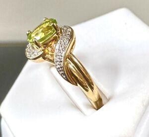 9ct Gold Peridot & Diamond Ring UK Size O  Fully Hallmarked