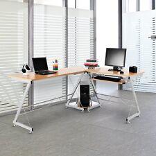 L-shaped Corner Desk Computer Workstation w/ Keyboard Tray