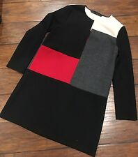 Zara Basic Collection Woman Color Block Long Sleeve Shift Dress Size M