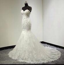UK White/Ivory/champagne Mermaid Lace Beaded Wedding Dress Bridal  Size 6-16.