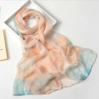 Elegant Women Lady Print Flower Long Soft Wrap Shawl Silk Scarf Scarves Holiday