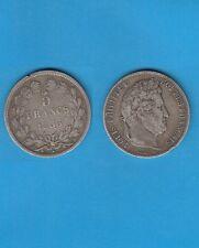 // 5 Francs argent Louis-Philippe Laurée Tranche en relief 1833 Tououse