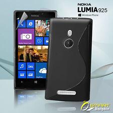 Black S Curve Gel Case For Nokia Lumia 925 + SP Jelly Tpu Soft Skin Cover