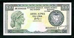 Cyprus (P55b) 10 Pounds 1992 aXF