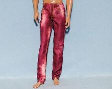COOL Bleach Splotched Dark Red Denim Jeans Pants KEN Clothes Genuine BARBIE