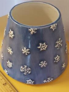 Yankee Jar Candle Shade Ceramic Snow Lantern Cover Blue Snowflake Christmas NEW