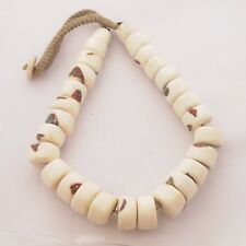 "Tibetan Old Naga Sacred Conch Shell Necklace 19"" Handmade Tibet Nepal UN1951"