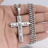 Mens Silver 316L Stainless Steel PENDANT NECKLACE 16-36'inch Curb Link Chain 5mm