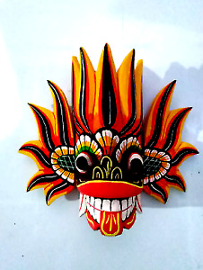 Fire Wooden Mask Wall Hang Home Decor Wooden Hand Craved Sri Lankan Traditional
