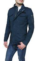 Giubbotto Parka uomo blu scuro estivo casual giacca giubbino militare in cotone