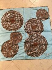 Fabulous Vintage Schiaparelli Pure Silk Mod Flower Scarf Blue Brown