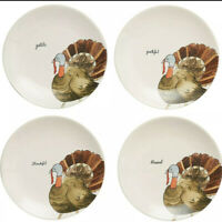 NEW Rae Dunn Magenta (4) Turkey Appetizer, Side, Salad Plates Thanksgiving LL 8""