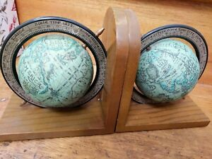 Olde Worlde Globe Bookends Authentic Vintage Retro Maps Spinning Axis Globes