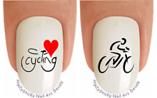 """Nail Art #304 SPORTS """"I Love Cycling"""" WaterSlide Nail Decals Transfers Stickers"""