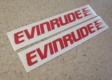 """Evinrude Vintage Outboard Motor Decals 9"""" RED 2-Pak FREE SHIP + FREE Fish Decal!"""