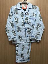 BNWT Boys Sz 5 Long Pale Blue Flannel Style Cool Robots Print Pyjamas