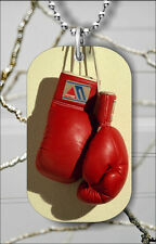 SPORT BOXING RED GLOVES DOG TAG PENDANT NECKLACE FREE CHAIN -b2x