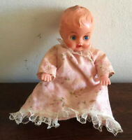 Gorgeous Vintage Blue Box Made In Hong Kong Baby Doll Plastic With Sleep Eyes