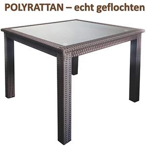 PREMIUM GARTENTISCH braun 83 x 83 cm Quadrat Poly-Rattan Flechtung Metallgestell
