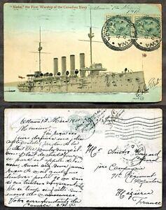 Warship NIOBE Canadian Navy 1911 Postcard to France          (inv:p01948)