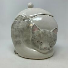 Laurie Gates Vintage Gustin Cat Cookie Jar USA Gray Hand Painted Realistic