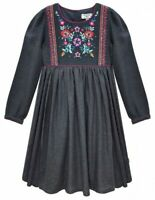 Kids Girl's Long Sleeve Floral Embroidered Bodice Girls Party Dress 3-11 Year