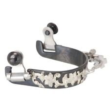 Kelly Silver Black Steel Ladies Bumper Spurs w/ Floral Silver Overlay Black