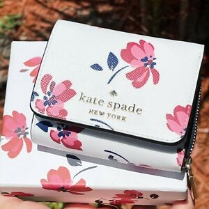 Kate Spade Staci Small Trifold Continental Wallet Tea Garden Floral w GIFT BOX