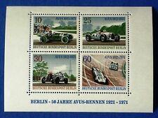 Germany Berlin Block 1971 Avus Car Racing 50th Anniversary - MNH - EXCELLENT