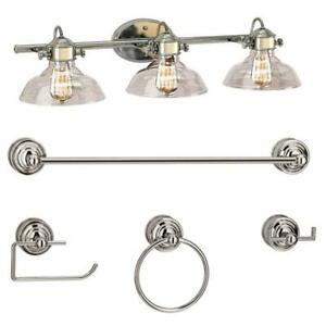 Bel Air Lighting 3-Light Polished Chrome Vanity Light Set with Clear Glass Shade