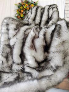 Luxury Faux Fur Throw Blanket Sofa Bed Silky Soft Black Tips King Size 200x150CM