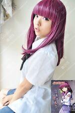 Hot sell !!!ANGEL BEATS Medium Nakamura Yuri Long Wine Red Cosplay Wigs AE64