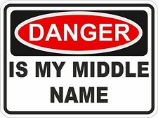1x DANGER IS MY MIDDLE NAME WARNING FUNNY VINYL STICKER