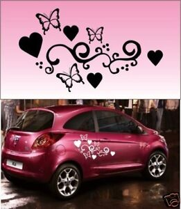 2x Butterfly Heart Vinyl Car Graphics,Stickers,Decals