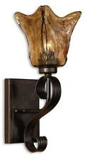 New listing Elegant Wrought Iron Amber Art Glass Wall Mounted Sconce Fixture Old World