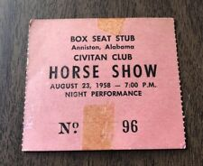 Vintage 1958 Horse Show Box Seat Ticket Stub  Mell-O Milk And Ice Cream Adver.