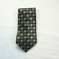 Pierre Cardin Men's Silk Tie Classic Length Blue Tan Gold White Geometric