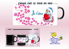 mug tasse magique magik mug noir - blanc je t'aime personnalisé réf 11
