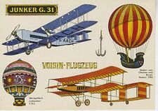 Postcard 1371 - Aircraft/Aviation Junkers G. 31/Voisin Flugzeug/Montgolfiers