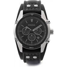 Fossil Men's CH2586 Sports Chronograph Black Dial with Black Leather Cuff  Watch