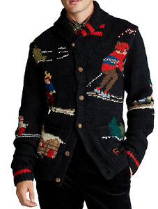 New Polo Ralph Lauren Skier Hand-Knit Wool Blend Jacquard Cardigan Sweater XXL